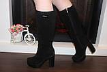 Сапоги женские черные на каблуке натуральная замша Д676, фото 8