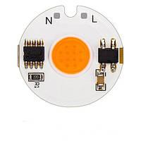 Светодиодный модуль COB LED 7Ватт AC220 27mm для растений, фото 1