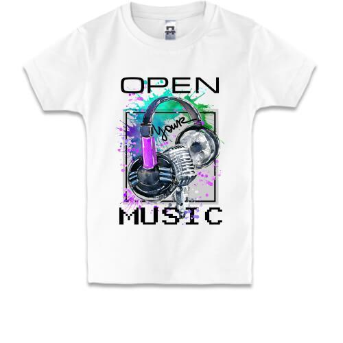 Детская футболка с наушниками Open your music