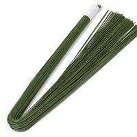 Флористическая проволока Зеленая 1 мм 65 см 50 шт/уп в бумажной оплетке, фото 1