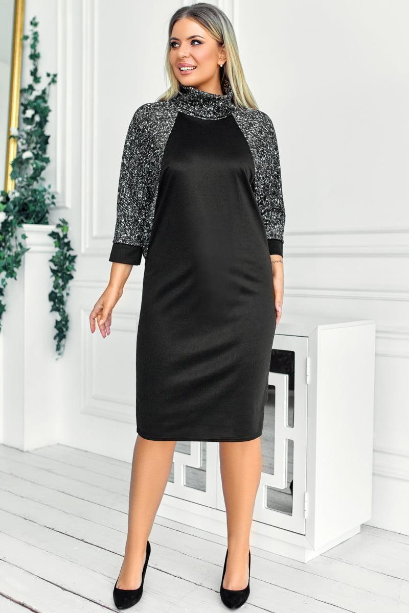 Темное платье большого размера Викель меланж