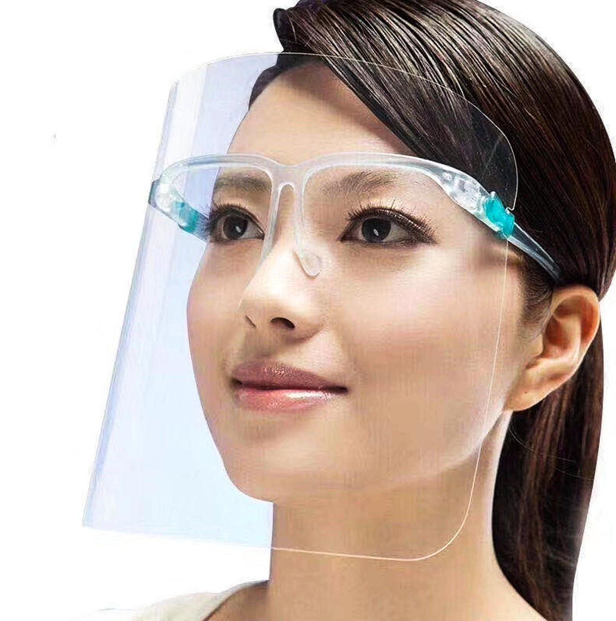 Защитный щиток экран для лица прозрачный пластик на оправе со складными дужками 165х195 мм FACE SHIELD Glasses