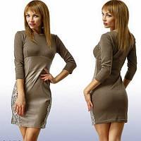 Стильное платье с кружевом и кожей, фото 1