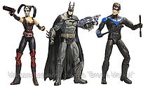 Набор фигурок Аркхэм Сити: Бэтмен, Найтвинг, Харли Квинн с аксессуарами и подставками - Arkham City, DC Comics
