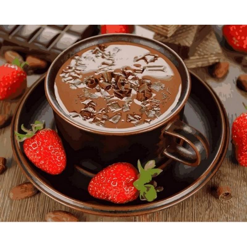 Картина по номерах Mariposa Горячий шоколад и клубника 40х50см Q2190 набір для розпису по номерах, фарби та пензлі