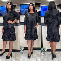 Платье в клетку женское Батал черное CDM-2704
