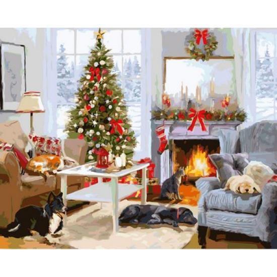 Картина по номерах Babylon Рождественское утро у камина 40х50см VP998 набір для розпису по номерах, фарби та пензлі