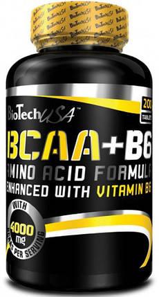 BCAA + B6 BioTech USA 200 tabs, фото 2
