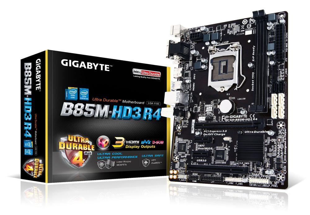 "Материнская плата GIGABYTE GA-B85M-HD3 R4 s1150 B85 DDR3 ""Over-Stock"" Б/У"