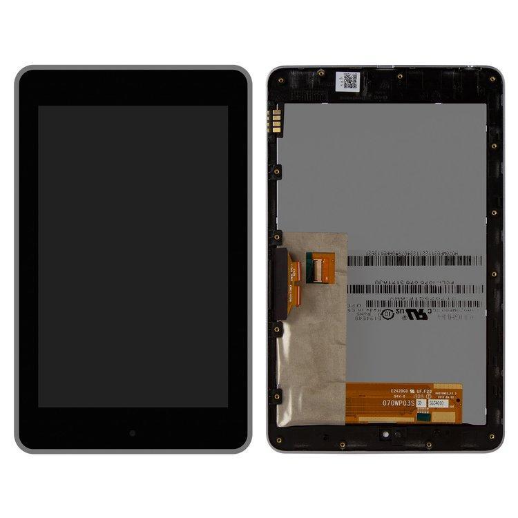 Дисплей (екран) для Asus ME370 Google Nexus 7 (2012) версія Wi-Fi з сенсором (тачскрін) і рамкою чорний