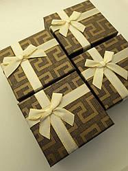 """Подарункова коробочка під годинник """"Геометрія з бантом"""" Коричневий"""