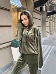 Жіночий велюровий спортивний костюм з худі і капюшоном, штани на манжетах 34051128, фото 3