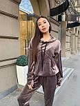 Жіночий велюровий спортивний костюм з худі і капюшоном, штани на манжетах 34051128, фото 4