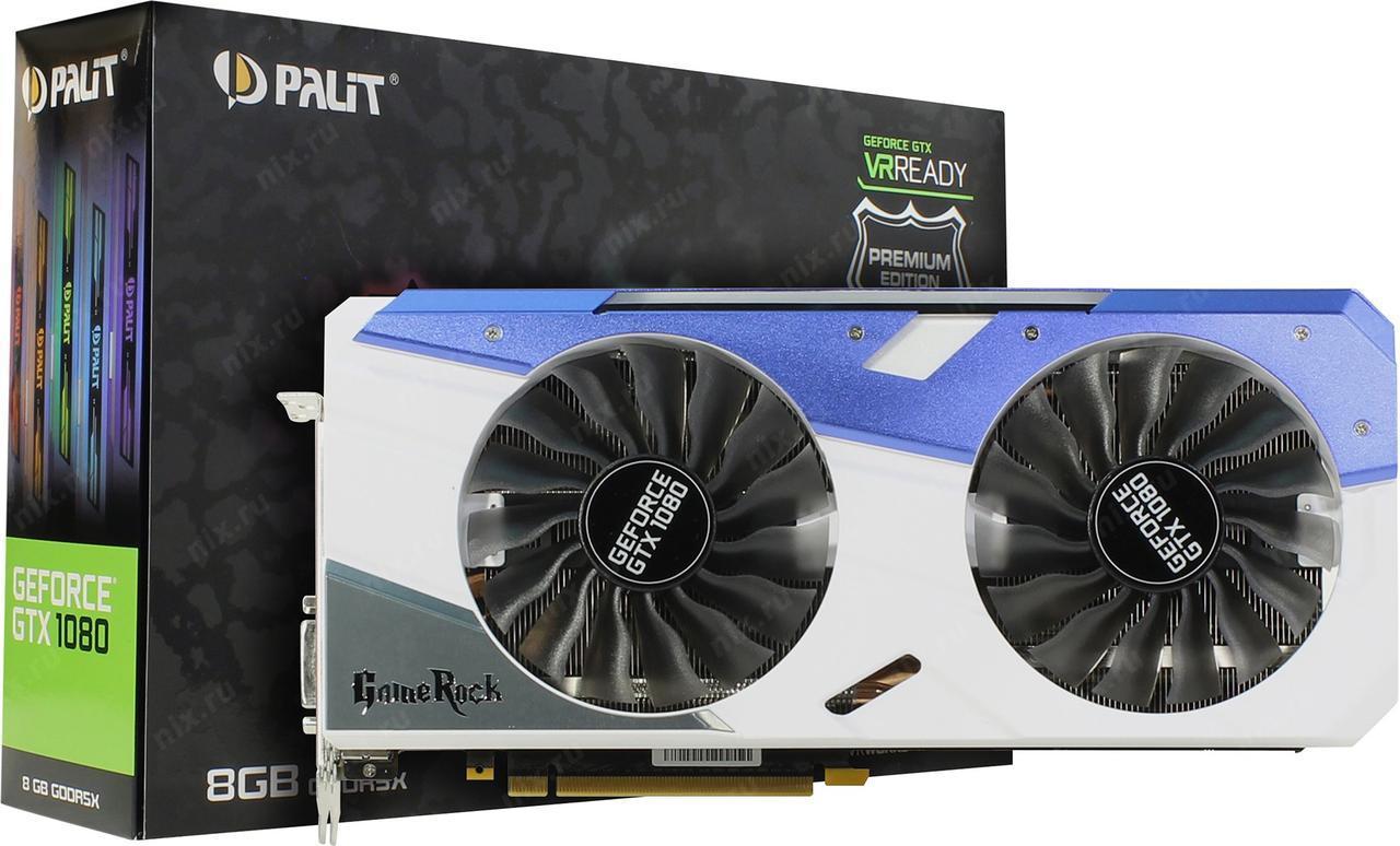 Видеокарта Palit GeForce GTX 1080 GameRock Premium Edition (NEB1080H15P2-1040G) G-Panel  Б/У