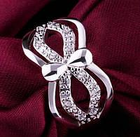 Посеребрённое красивое кольцо Люче с цирконами, 18 р., фото 1