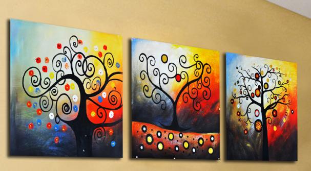 Картина по номерах Babylon Дерево счастья Триптих 50х150см DZ259 набір для розпису по номерах в коробці набір для розпису, фарби та пензлі