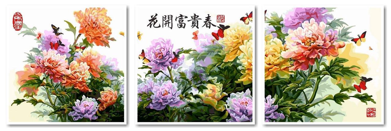 Картина по номерах Babylon Японские хризантемы Триптих 50х150см VPT023 набір для розпису по номерах в коробці набір для розпису, фарби та пензлі