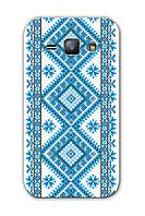 Чехол для Samsung Galaxy J7 J700 (Голубая вышиванка)