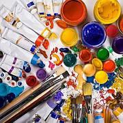 Фарби, лаки, пензлі, мольберти та інші аксесуари для малювання
