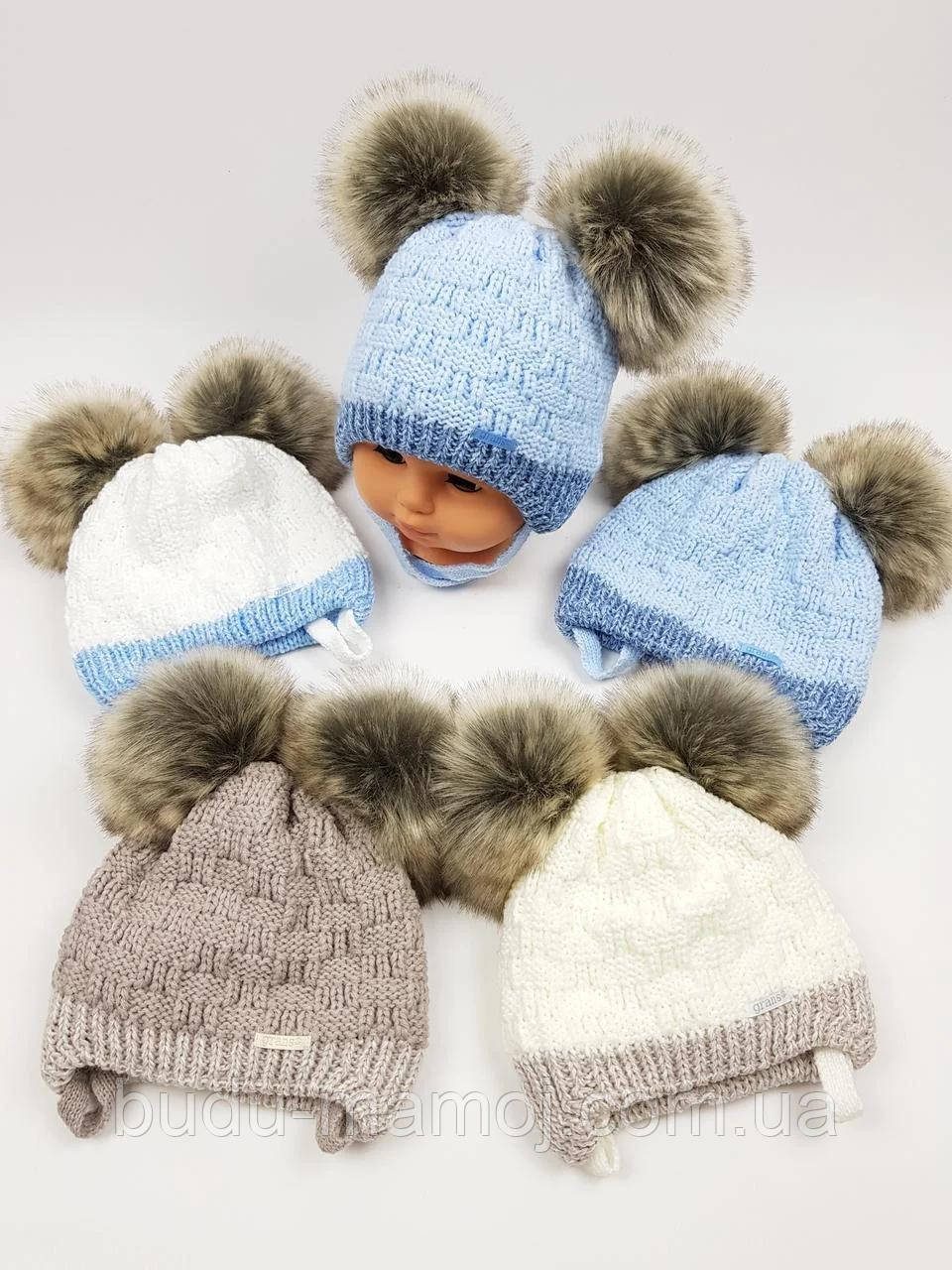 Зимняя шапочка для новорожденных девочке мальчику в роддом и для прогулок