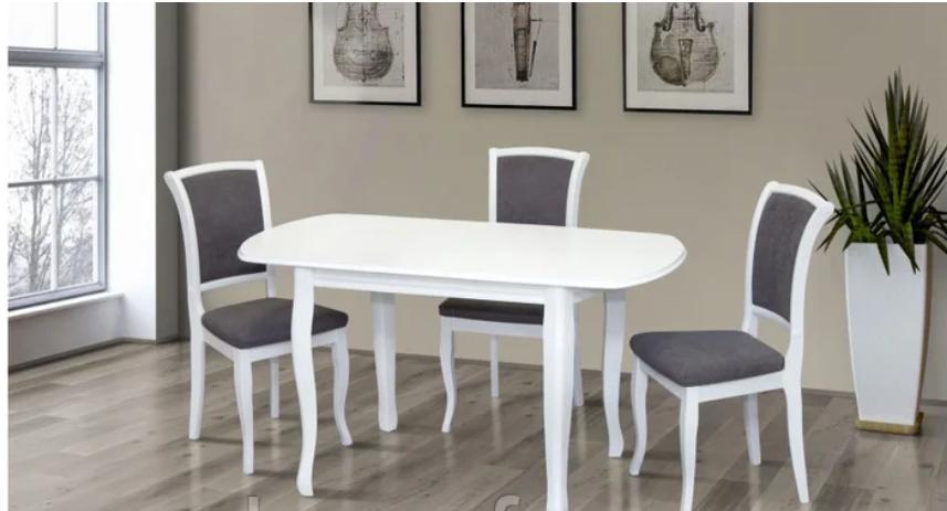 Кухонный комплект -Турин. Стол раздвижной, 4 стула. Цвет - белый