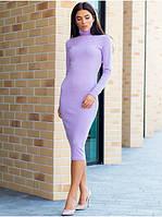 Лавандовое молодежное облегающее демисезонной платье в размерах S, М
