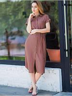 Летнее женское платье-рубашка кофейного цвета размера S