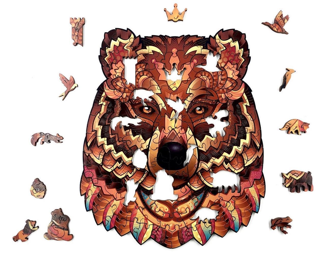 Деревянные пазлы Лесное королевство Ведмідь 24х20см 114 детали Деревянный пазл Forest Kindom Могучий медведь
