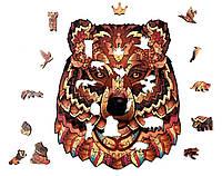 Деревянные пазлы Лесное королевство Ведмідь 24х20см 114 детали Деревянный пазл Forest Kindom Могучий медведь, фото 1