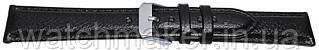 Черный кожаный ремешок для часов с глянцевым покрытием, прошитый черной строчкой 20 мм (18 мм)