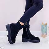 ТОЛЬКО 38 р! Женские ботинки ЗИМА черные на шнуровке эко замш, фото 4