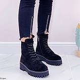 ТОЛЬКО 38 р! Женские ботинки ЗИМА черные на шнуровке эко замш, фото 3