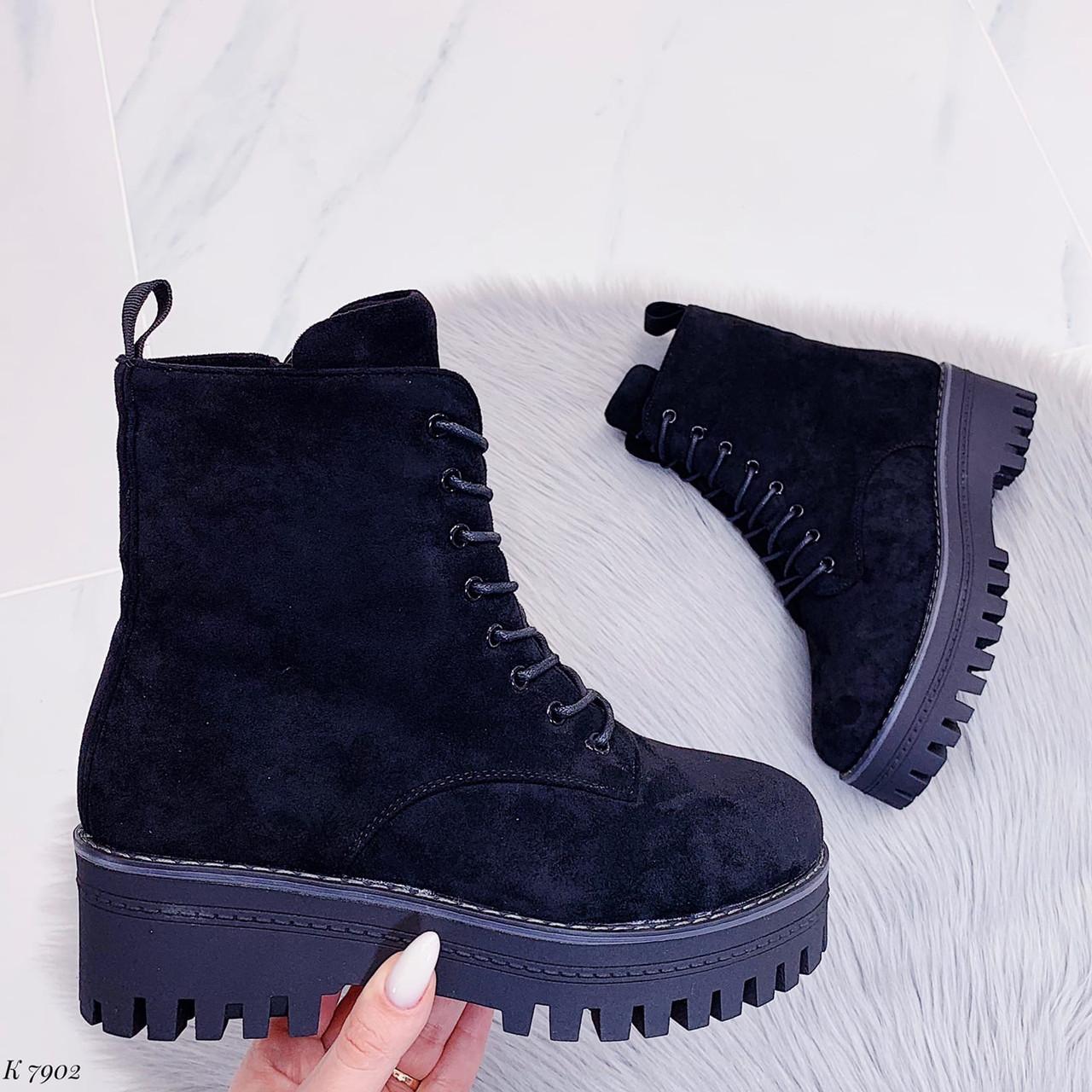 ТОЛЬКО 38 р! Женские ботинки ЗИМА черные на шнуровке эко замш