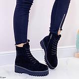 ТОЛЬКО 38 р! Женские ботинки ЗИМА черные на шнуровке эко замш, фото 6
