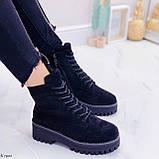 ТОЛЬКО 38 р! Женские ботинки ЗИМА черные на шнуровке эко замш, фото 2