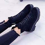 ТОЛЬКО 38 р! Женские ботинки ЗИМА черные на шнуровке эко замш, фото 7