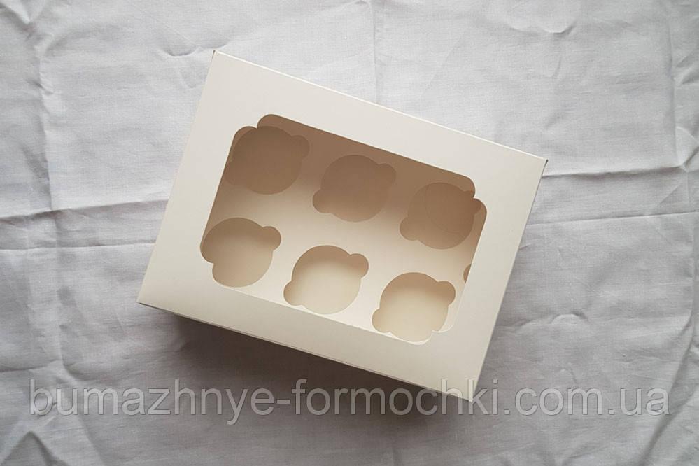 Коробка для капкейков, кексов на 6 шт., 255*180*90