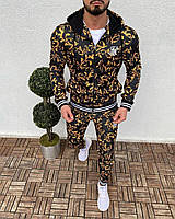 Мужской спортивный костюм чёрный с жёлтым принтом