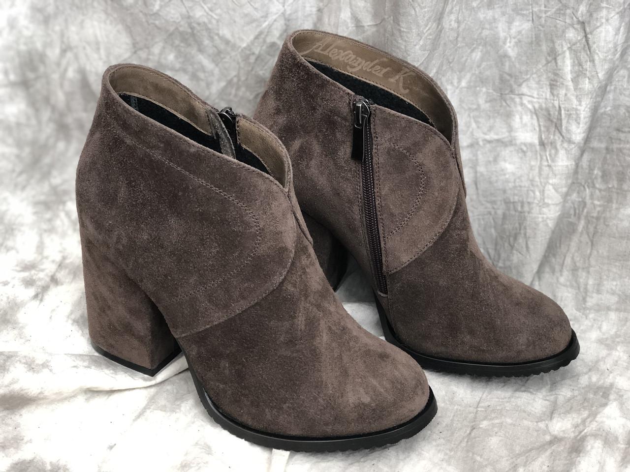 Демисезонная женская обувь из натуральной кожи, замша 778 беж размеры 38,39,40