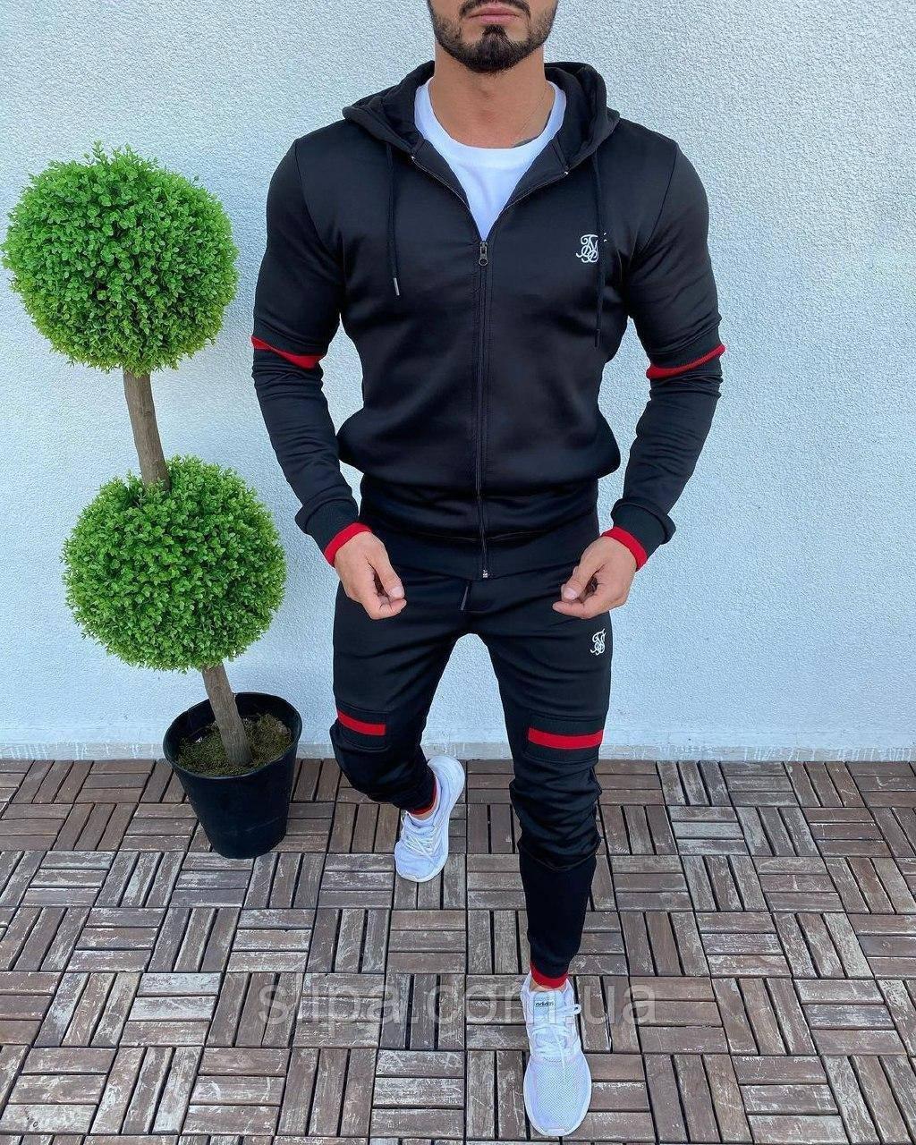 Мужской спортивный костюм чёрный с капюшоном