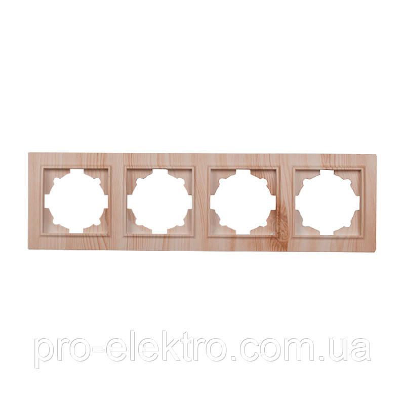 Рамка четырехместная (светлое дерево) EH-2203-WW