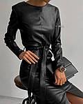 Женское платье, турецкая экокожа, р-р С-М; М-Л (чёрный), фото 3
