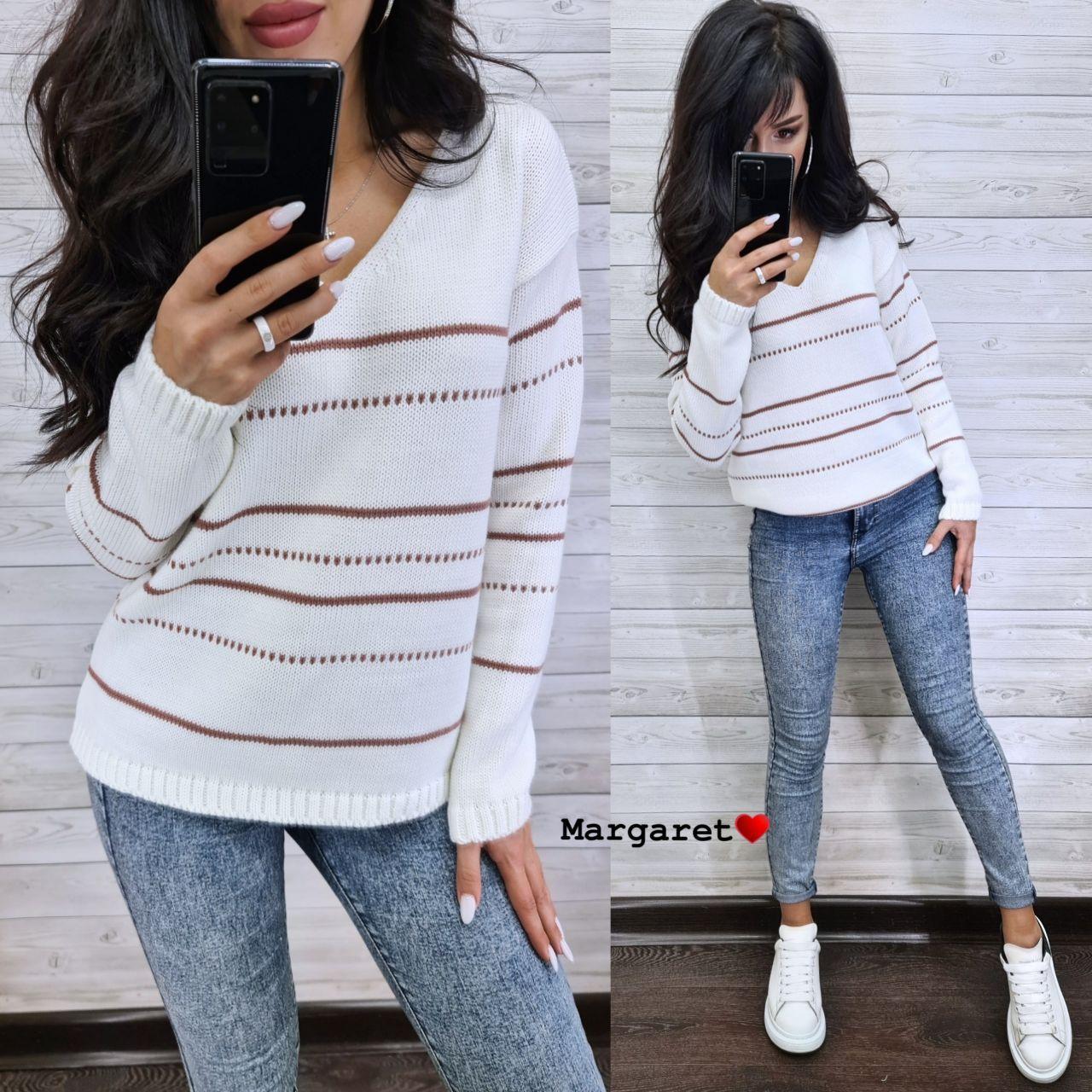 Жіночий в'язаний светр з V-вирізом і спадаючим плечем, візерунок - тонкі смужки (р. 42-46) 904961