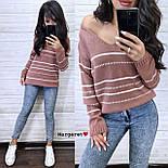 Жіночий в'язаний светр з V-вирізом і спадаючим плечем, візерунок - тонкі смужки (р. 42-46) 904961, фото 5
