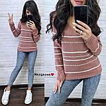 Жіночий в'язаний светр з V-вирізом і спадаючим плечем, візерунок - тонкі смужки (р. 42-46) 904961, фото 8