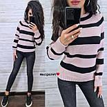 Женский вязаный свитер в полоску с рукавом регланом и с шерстью в составе (р. 42-46) 904962, фото 6
