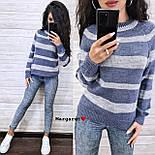 Женский вязаный свитер в полоску с рукавом регланом и с шерстью в составе (р. 42-46) 904962, фото 3