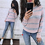 Женский вязаный свитер в полоску с рукавом регланом и с шерстью в составе (р. 42-46) 904962, фото 4