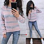 Женский вязаный свитер в полоску с рукавом регланом и с шерстью в составе (р. 42-46) 904962, фото 7
