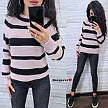 Женский вязаный свитер в полоску с рукавом регланом и с шерстью в составе (р. 42-46) 904962, фото 8